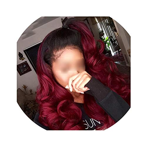 Carrie Hair #1B/99J Color Ombre Peruvian Human Hair Wigs Lace Frontal Body Wave Hair Wigs With Baby Hair Burgundy Remy Wig,14Inches