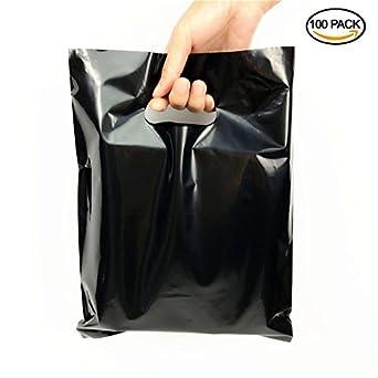 Amazon.com: SES.CO 9x12'' Glossy Black Plastic Merchandise Bags ...