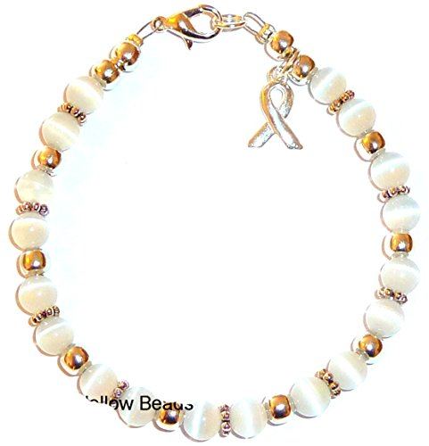 Cancer Awareness Bracelet, For Showing Support or Fundraising Campaign, 18 colors to choose from, Adult Size with Extension, 6mm Cat's Eye Beads. Comes Packaged. (Bone and Cervical Cancers - White) Breast Cancer Fashion Bracelet