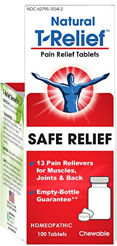 T-Relief Pain Relief Tablets - Homeopathic Formula with Arnica for Minor Joint Pain, Back Pain, Muscle Pain, Nerve Pain and Arthritis Pain - 100 Tablets