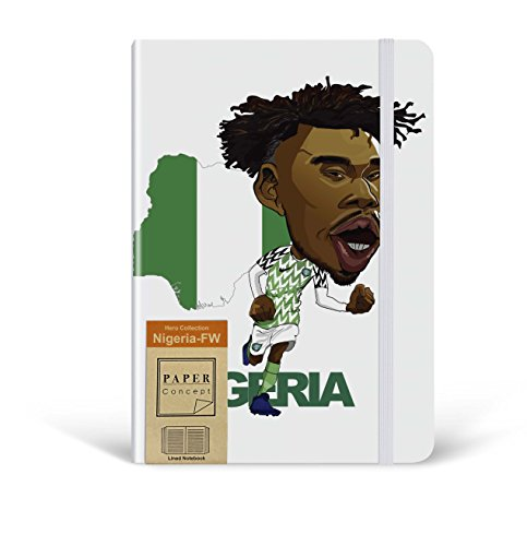 Nigeria - Alex Iwobi Worldcup 5.7 x 8 inch Hardcover Classic Notebook/Lined Daily Journal/Creative Design Writing & Drawing Notebook