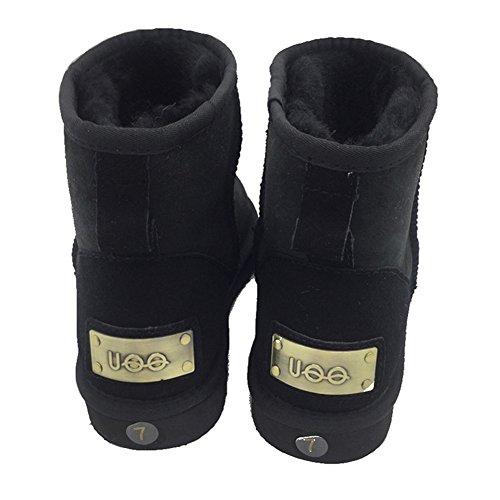 UOO Womens Classic Sheepskin Snow Boots Models Mini Boots Black OQmeg7mS