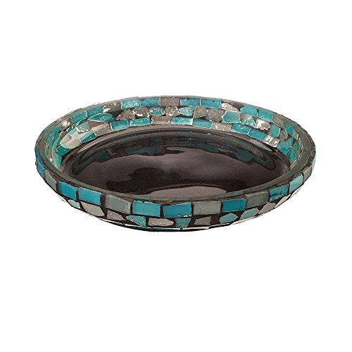Amber Home Goods Blue Moon Glass Pillar Plate Candle Holder (Plates Pillar Candle Holder)