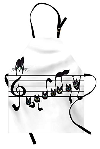 Lunarable Music Apron, Notes Kittens Kitty Cat Artwork Notation Tune Children Halloween Stylized Monochrome, Unisex Kitchen Bib Apron with Adjustable Neck for Cooking Baking Gardening, Black -