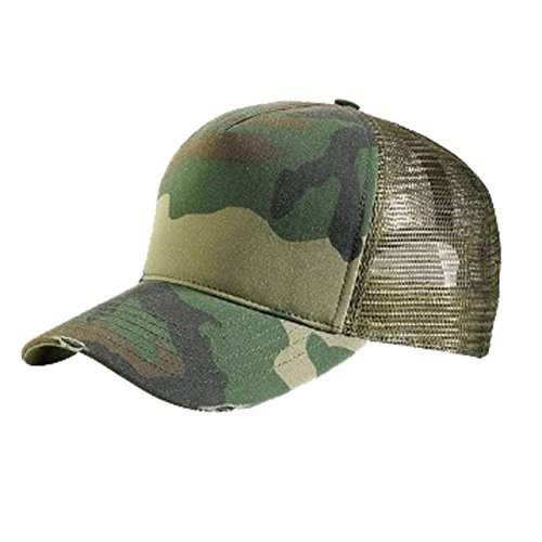 Mens Womens Panel Washed Camo Trucker Cap Mesh Back Adjustable Hat (Green Camo)