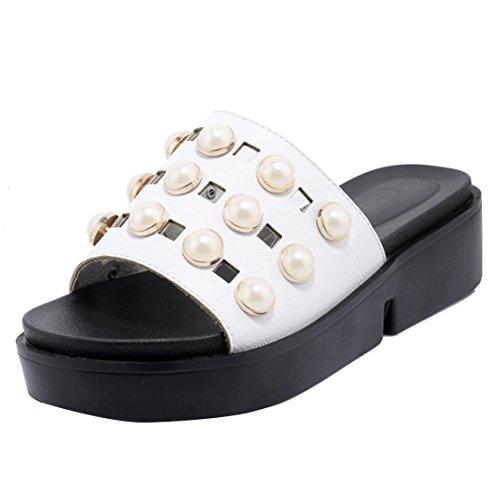 AIYOUMEI Women's Open Back Slippers White htA7ESoj