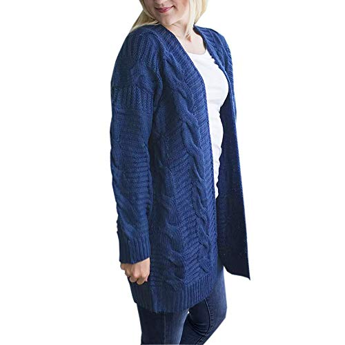 Sleeve Long Sleeve Cardigan Womens Front Knitwear Top Knit Blue Outwear Knit DIKEWANG Boyfriend Long Open Casual Ladies Coat Cardigan Swearter Lady Jacket wSq5Exa8H