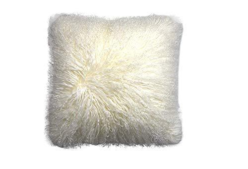 ROSE FEATHER Real 100% Tibetan Mongolian Lamb Sheepskin Wool Fur Super Soft Plush Leather Pillowcase Cushion Cover,White 18x18inch ()