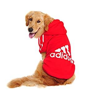 Idepet Spring Autumn Big Dog Clothes Coat Jacket Clothing for Dogs Large Size Golden Retriever Labrador 3XL-9XL Adidog Hoodie (Red, 6XL)