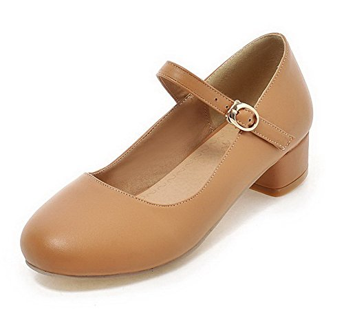Odomolor Women's PU Round-Toe Low-Heels Buckle Solid Pumps-Shoes, Apricot, 35