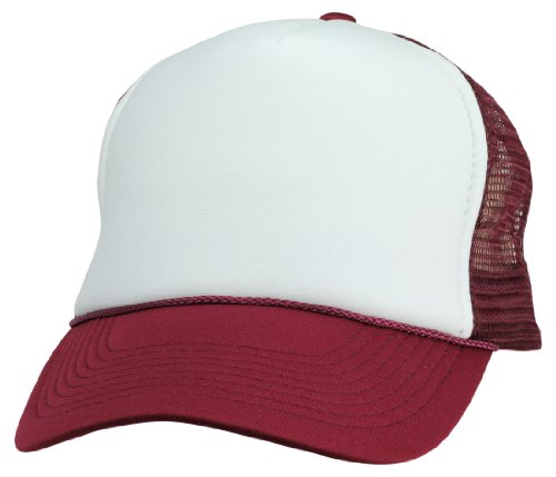 DALIX Blank Hat Two Tone Summer Mesh Cap in Maroon and White Trucker Hat