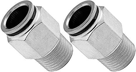 Vixen Air 3//8 NPT Male Push to Connect Bundle of Two Fittings VXA7312-2 Straight Pneumatic Fitting for 1//2 OD Hose PTC