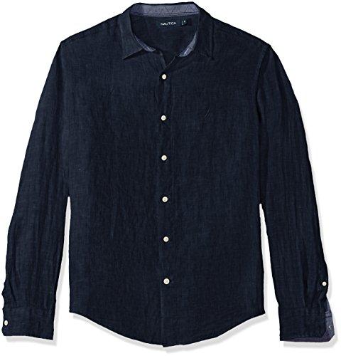 Nautica Men's Long Sleeve Solid Color Button Down Linen Shirt, Navy, XX-Large