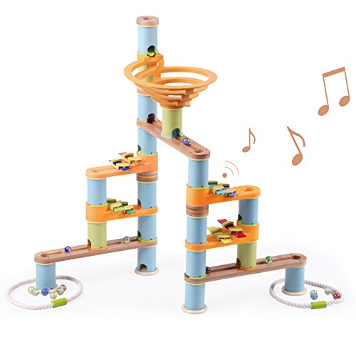 Fat Brain Toys 127 pc + Music Bamboo Builder Marble - Bamboo Fat