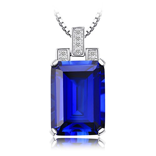 JewelryPalace Luxury Emerald Cut 9.4ct Created Blue Sapphire Pendant Genuine 925 Sterling Silver Pendant Necklace 18 by JewelryPalace