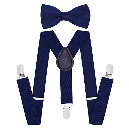 Cinny Suspender Set with Bow Tie for Kids (Navy)