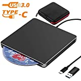 External CD Drive NOLYTH Slot-in USB C CD DVD +/-RW Drive Slim CD DVD Player Burner Writer for Laptop/Macbook Air/Pro/Mac/Windows made with Alumium Alloy with Protactive Storage Carrying Case