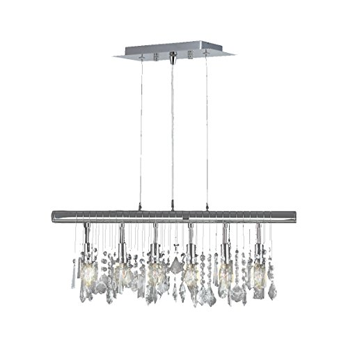 Worldwide Lighting Nadia Collection 6 Light Chrome Finish and Clear Crystal Linear Pendant 24