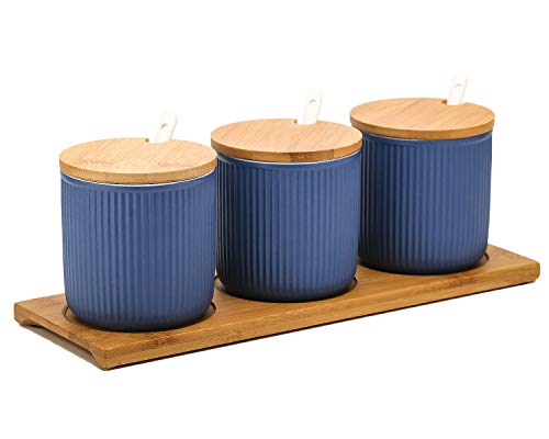 VanEnjoy Ceramic Sugar Spice Containers Porcelain Jar with Bamboo Lids, Tray and Spoons Muti-Functional Round Condiment Jar for Home Set of - Set Blue Condiment