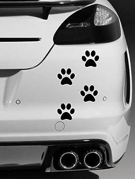 Pegatinas de vinilo para coche, diseño de huellas de perro, color negro, 4 unidades