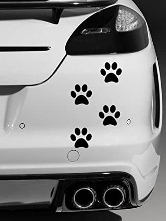 X Dog Paw Prints Quality Vinyl Car Stickers Decals Black - Vinyl transfers for cars