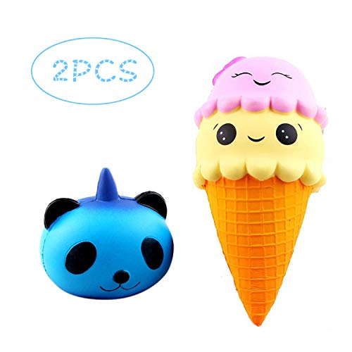 URXTRAL Kawaii Cute Squishies Lovely Toy Stress Relief Soft Toy Slow Rising Squeeze Toys (ice Cream + Unicorn Panda) ()