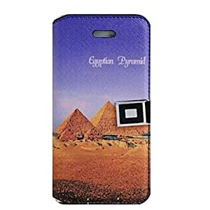 LZX Pyramids Pattem PU Leather Full Body Case with Stand and Card Slot for iPhone 5/5S