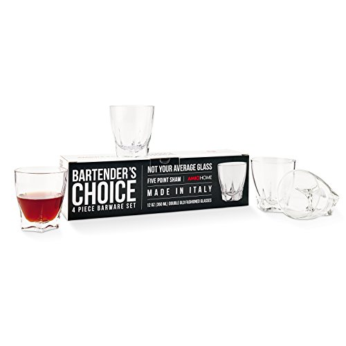 Amici Bartender's Choice Camelot Double Old Fashioned Glass, 21 oz. - Set of 4 ()