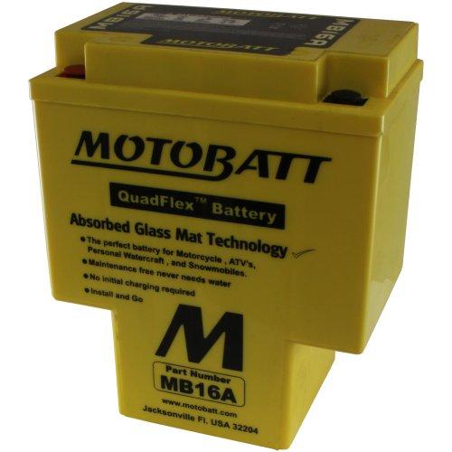 MotoBatt MB16A (12V 19 Amp) 200CCA Factory Activated QuadFlex AGM Battery by MotoBatt