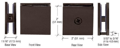 (C.R. LAURENCE SCU40RB CRL Oil Rubbed Bronze Square Style Hole-in-Glass Fixed Panel U-Clamp)