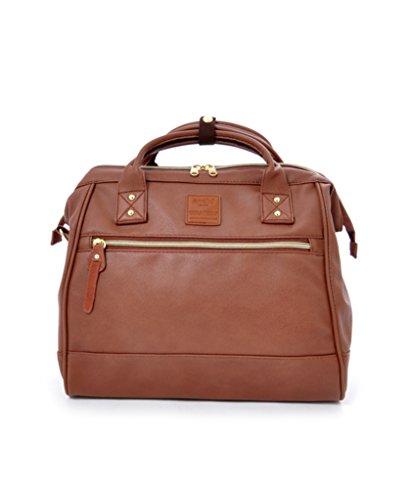 Anello Unisex 2 Way Shoulder Handle PU Leather Boston Bag (Brown)