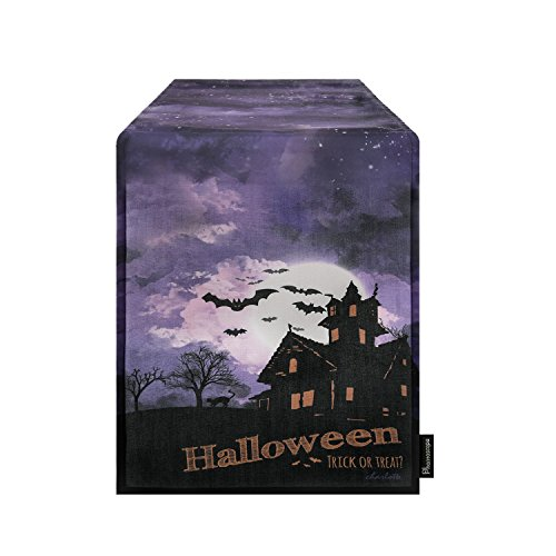 Phantoscope Halloween Series Castle and Bat Table Runners for Kitchen 14