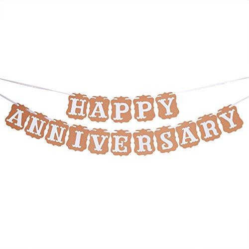 PALASASA Happy Anniversary Banner- Wedding Anniversary Party Decoration Photo Props