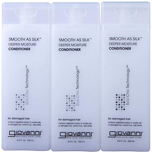 - GIOVANNI COSMETICS- Eco Chic Smooth As Silk Conditioner- Deeper Moisture For Damaged Hair- 3 PACK (8.5 Fl Ounce)