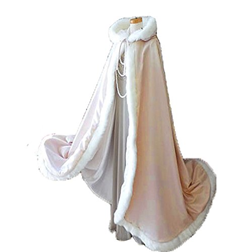 Cape Trim Hooded (Champagne Long Wedding Cloak with Hooded Cape Winter Fur Trim and Hand Muff 59 Inches)