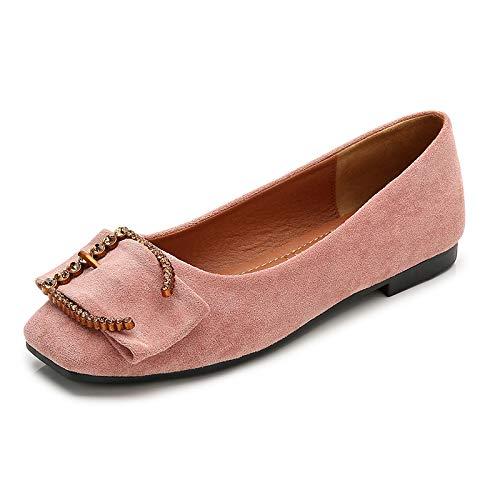 Deslizamiento FLYRCX Casual Zapatos Rhinestone Planos de de Embarazada Moda Trabajo Zapatos Zapatos Pink Solo Damas Mujer Zapatos Comodidad qRw1SxfR0