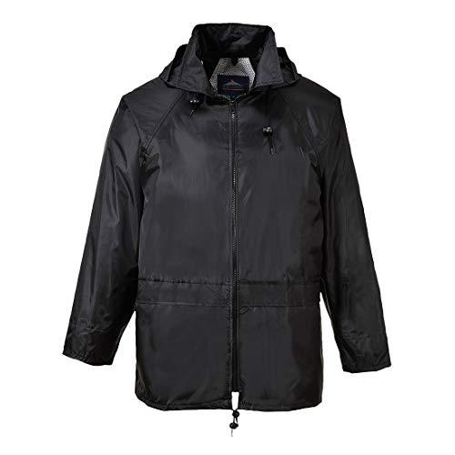 (Portwest US440BKRM Regular Fit Classic Rain Jacket, Medium, Black)
