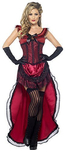 Ladies Red or Pink Sexy Saloon Girl Burlesque Brothel Babe Wild West Burlesque Halloween Fancy Dress Costume Outfit UK 8-18 (UK 12-14 -