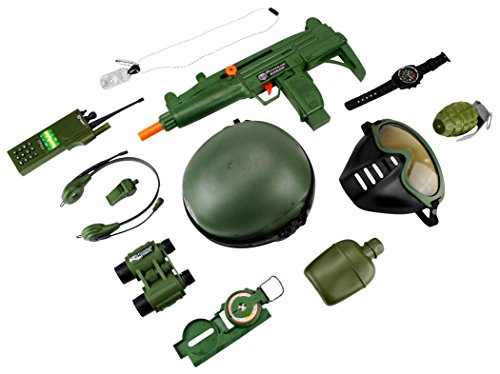 Army Set Deluxe - Special V Force Deluxe Army Soldier 12 Piece Children Kid's Pretend Play Friction Powered Toy Gun Playset w/ Gun, Helmet, Accessories