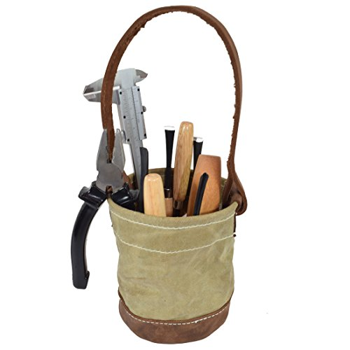 Waxed Canvas Leather Bottom Tool Bucket for Work/Camping/Fishing Organizer Handmade by Hide & Drink by Hide & Drink