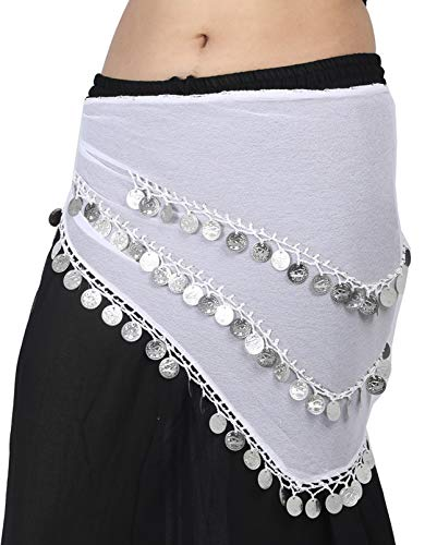 Wevez 3 Rows Belly Dance Costume Silver Coin Hip Scarf/Belly Dance Belt -