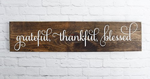 Blessed Plaque - Dark Walnut Cursive Grateful Thankful Blessed Wooden SignRustic Handmade Decor -