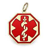 14K Filled Gold Octagon Medical Charm W/ Red Enamel - Available in 3 Sizes