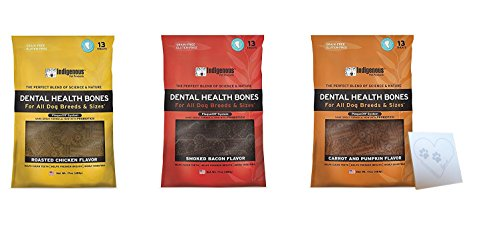 Indigenous Dental Health Bones Variety Bundle: Bacon, Roasted Chicken, Carrot Pumpkin, (17 Ounces Each, 51 Ounces -