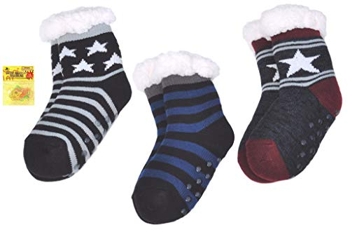 3 PAIR BOYS Black Blue Navy Star Non Skid Warm Fun Indoor House Slipper Socks with Grippers Last Minute Valentine Day Gift for Young Boy Kids Girls