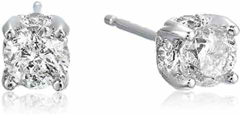 1 Carat Certified Diamond Stud Earrings, (K-L Color I1-I2 Clarity)