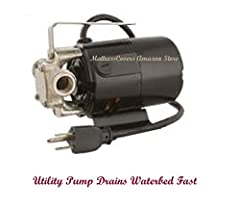 This is a very reliable pump which is very easy to use. It pumps 360 gallons per hour. To drain a waterbed you will also need two garden hoses and the little adapter which hooks your hose to the valve on the mattress. This pump can also be us...