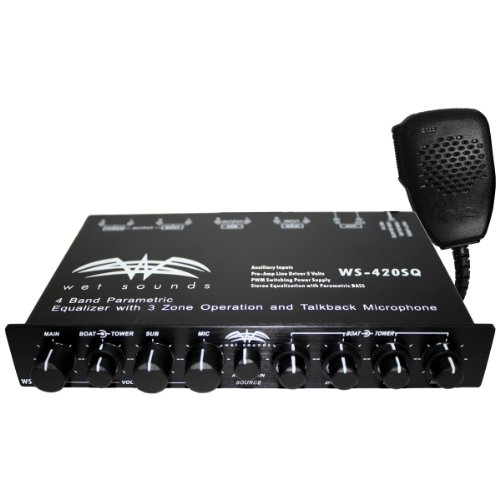 Wet Sounds WS-420 SQ - 4 Band Parametric Equalizer with 3 Zone Operation with Microphone -