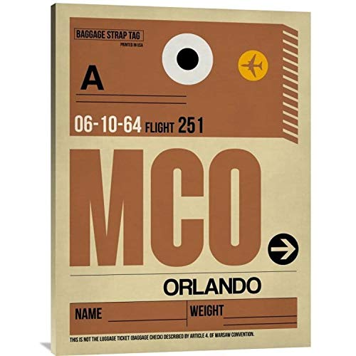 Naxart Studio 'MCO Orlando Luggage Tag I' Stretched Canvas Wall Art 24 inches x 32 inches from Naxart Studio