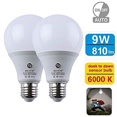 Sensor Light Bulb 360°Dusk to Dawn E26 Bulb Lamp A19 8W 10W Indoor Outdoor Yard Porch Patio Garage Garden 2 Pack by Mingfuxin